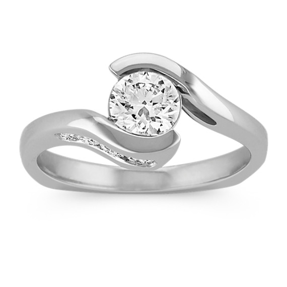 1 ct. Round Center Diamond, Swirl Half Bezel and Channel-Set Engagement Ring