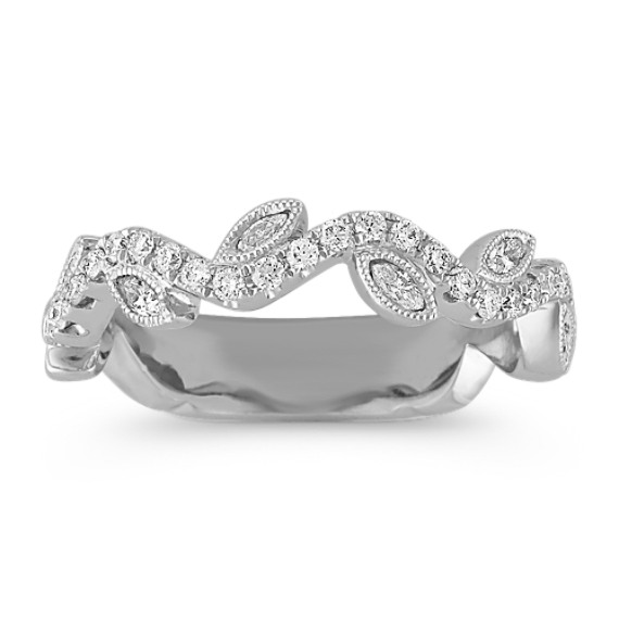 Swirl Marquise and Round Diamond Wedding Band with Leaf Accents