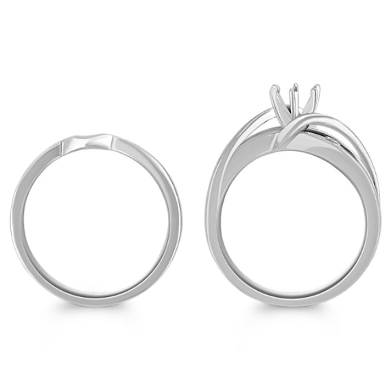 Swirl Over Channel Set Diamond Wedding Set with Channel-Setting image