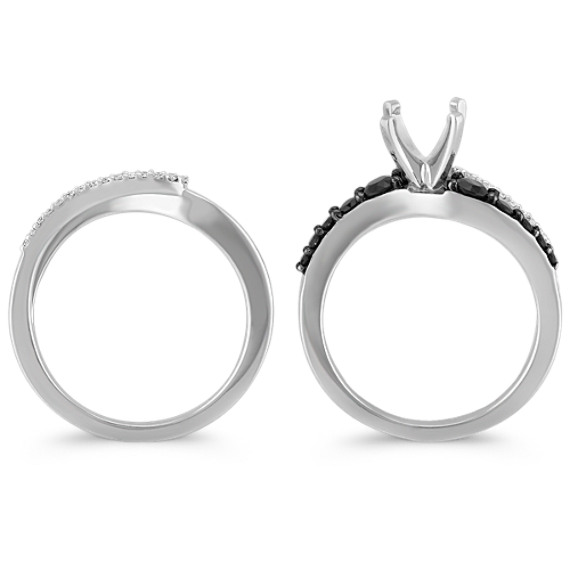 Swirl Round Black Sapphire and Diamond Wedding Set with Black Rhodium image