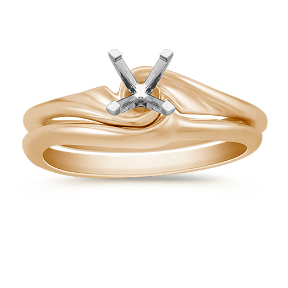 Swirl Wedding Set in 14k Yellow Gold