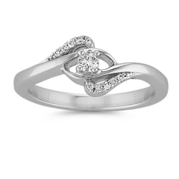 Swooping Round Diamond Ring in Sterling Silver