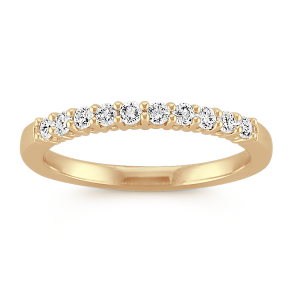 Ten-Stone Classic Round Diamond Wedding Band in Yellow Gold