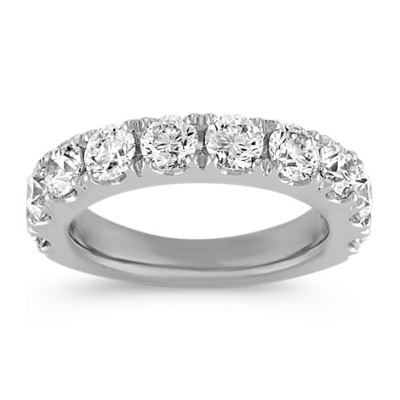 Ten Stone Diamond Wedding Band in White Gold