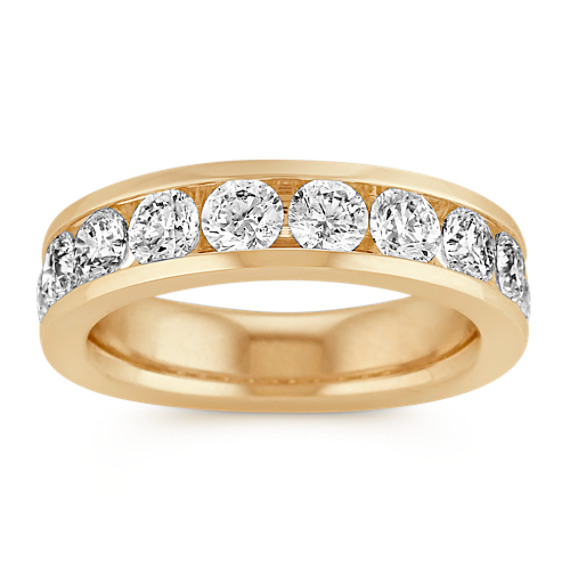 Ten-Stone Diamond Wedding Band with Channel-Setting