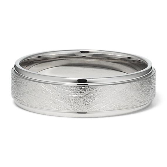 Textured 14k White Gold Ring (6mm)