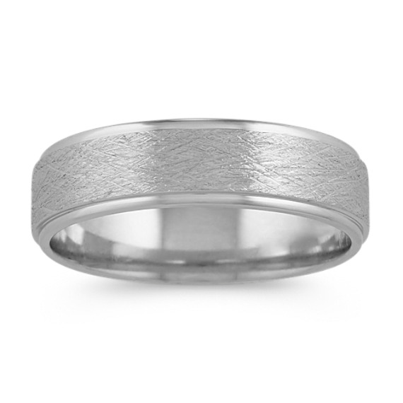 Textured 14k White Gold Ring (6mm)
