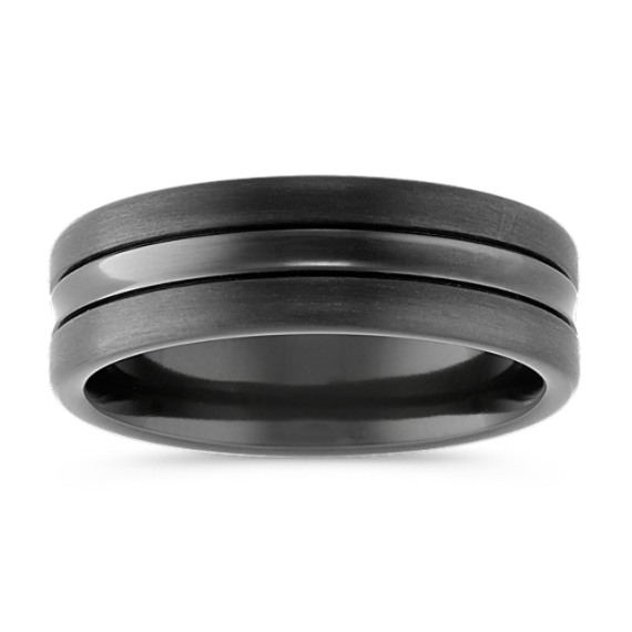 Textured Black Titanium Comfort Fit Ring (7.5mm)