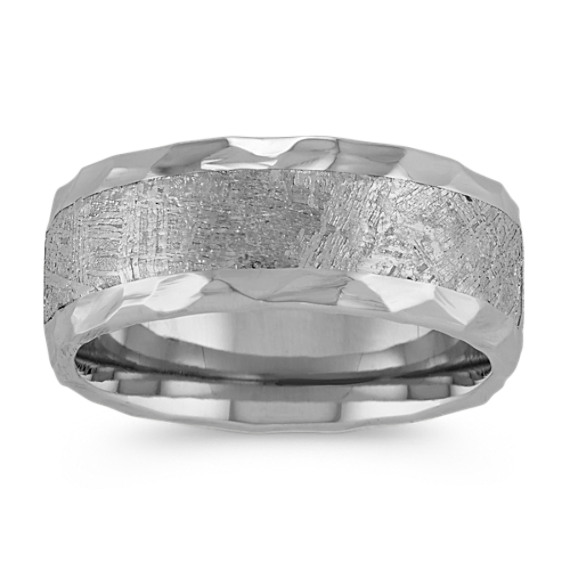 Textured Cobalt and Meteorite Mens Ring with Hammered Edge (9mm)
