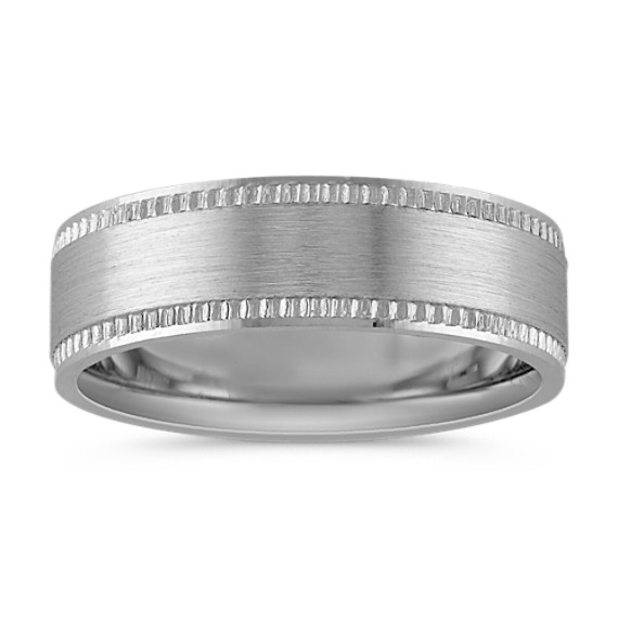 Textured Comfort Fit Mens Ring with Satin Finish (7mm)