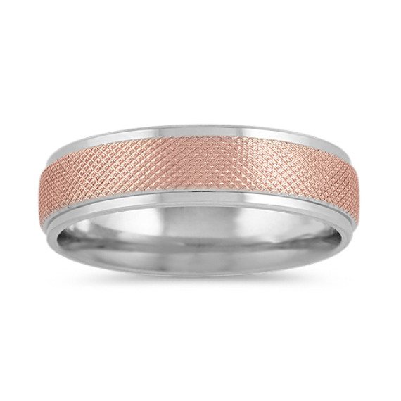 Textured Mens Band in 14k White and Rose Gold (6mm)