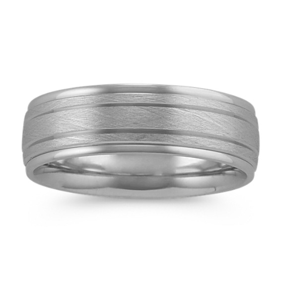 Textured Mens Ring in 14k White Gold (7mm)