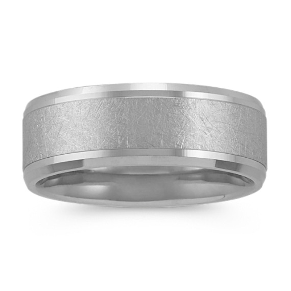 Textured Mens Ring in 14k White Gold (8mm)
