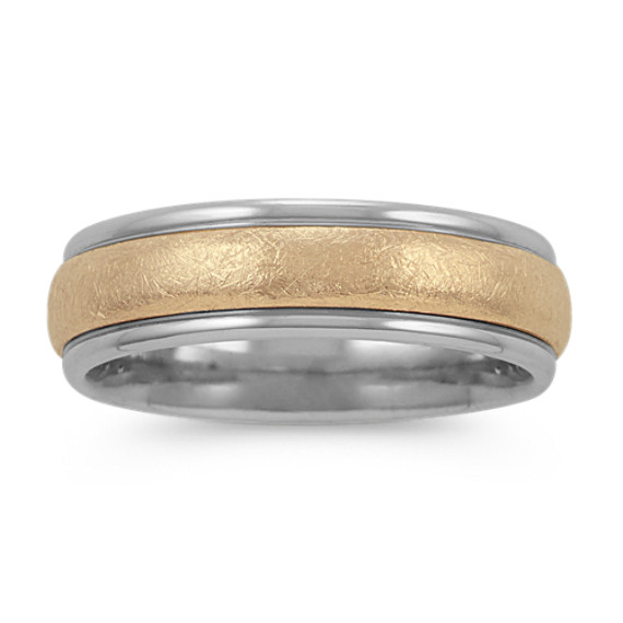 Textured Mens Ring in 14k White and Yellow Gold (6mm)