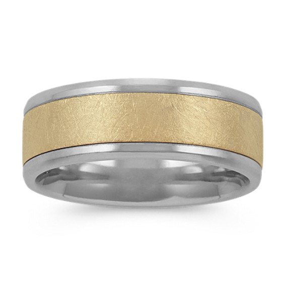 Textured Mens Ring in 14k White and Yellow Gold (8mm)