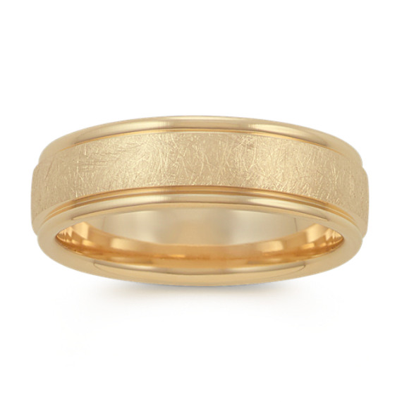 Textured Mens Ring in 14k Yellow Gold (6.5mm)