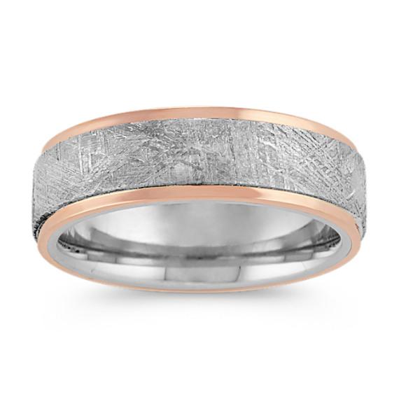 Textured Meteorite, Cobalt and 14k Rose Gold Ring (7mm)