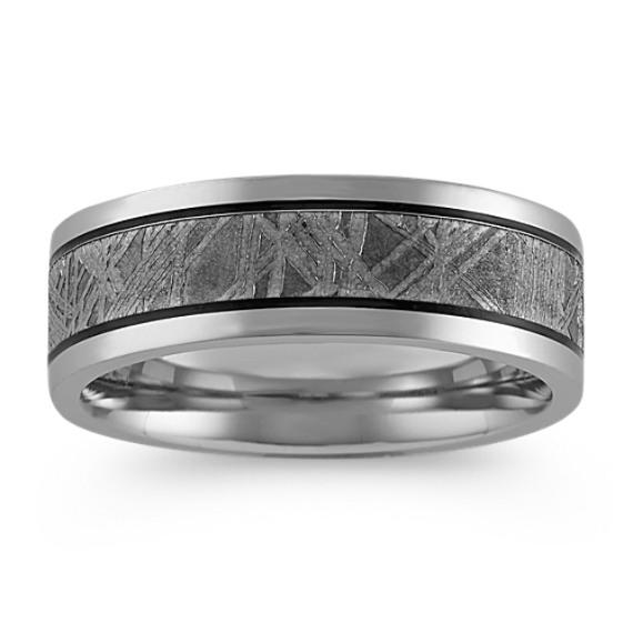 Textured Meteorite and Cobalt Mens Ring (7.5mm)