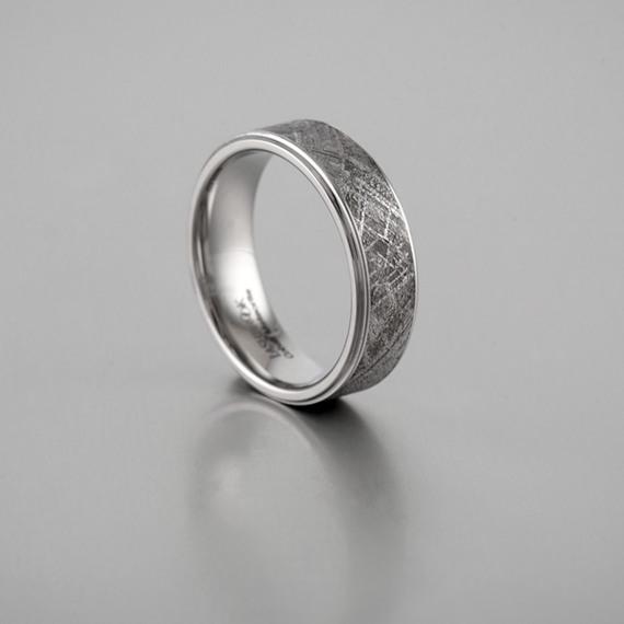 Textured Meteorite and Cobalt Wedding Band (7mm)