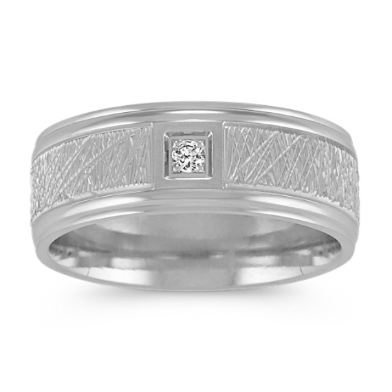 Textured Round Diamond Mens Ring in 14k White Gold (8mm)