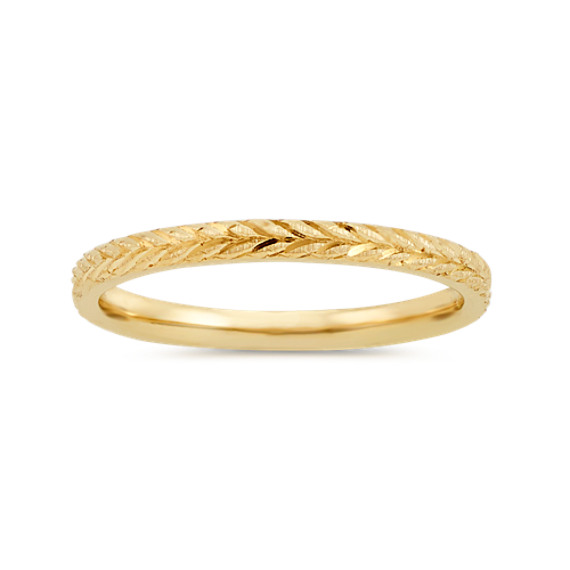 Textured Stackable Ring in 14k Yellow Gold