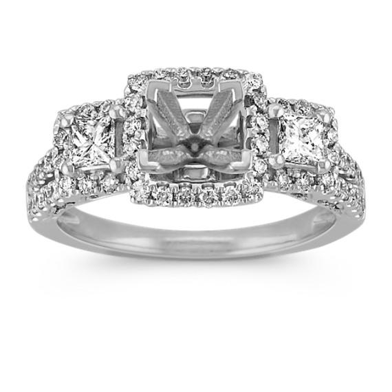 Three-Halo Diamond Engagement Ring