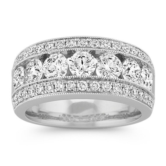Three Row Diamond Ring with Milgrain Detailing