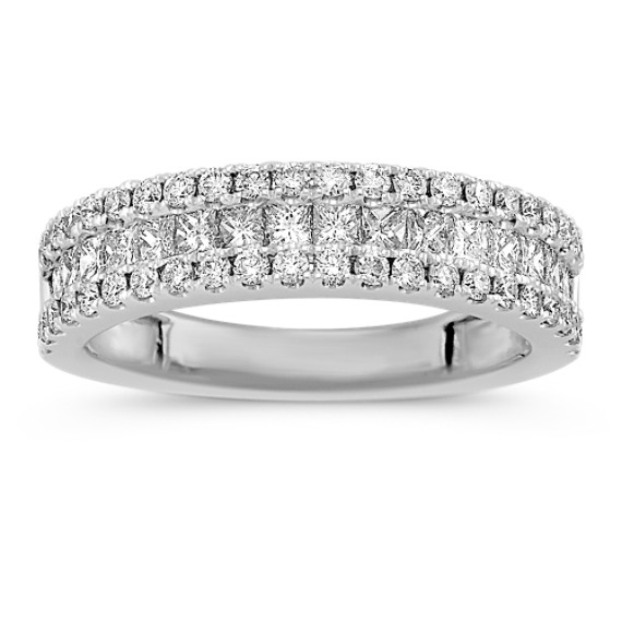 Three Row Princess Cut and Round Diamond Wedding Band