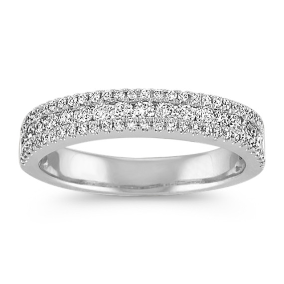 Three Row Round Diamond Wedding Band