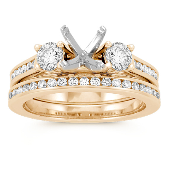Three-Stone Cathedral Channel-Set Diamond Wedding Set