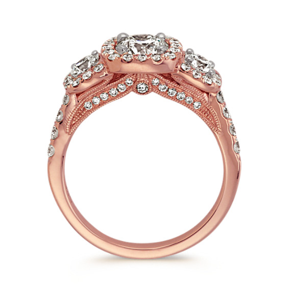 Three-Stone Diamond Ring in 14k Rose Gold image
