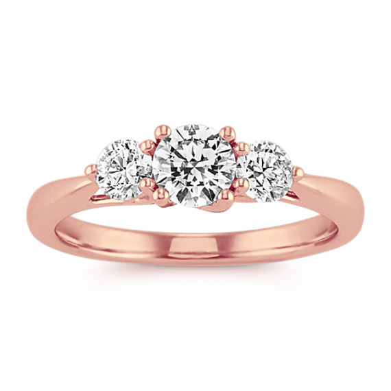 Three-Stone Diamond Ring in 14k Rose Gold