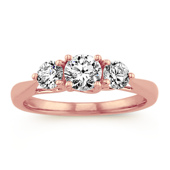 Three Stone Diamond Ring in 14k Rose Gold