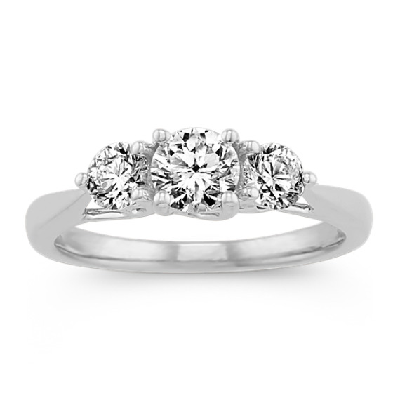 Three Stone Diamond Ring in 14k White Gold