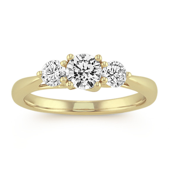 Three-Stone Diamond Ring in 14k Yellow Gold