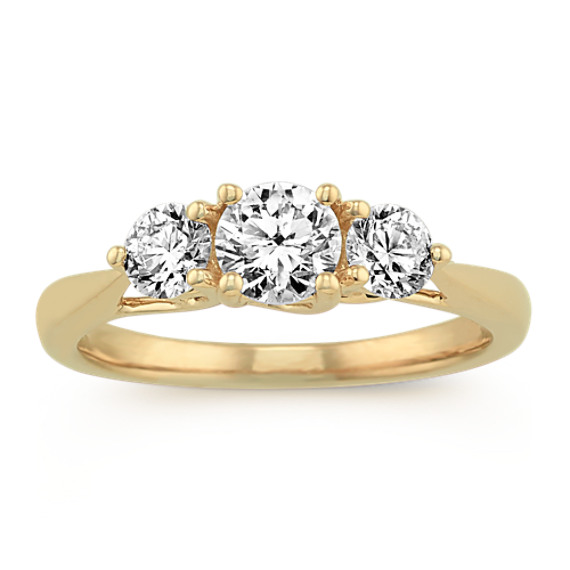 Three Stone Diamond Ring in 14k Yellow Gold