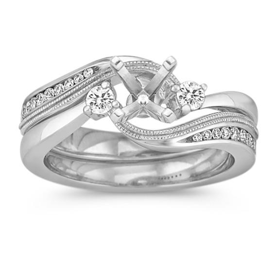Three-Stone Diamond Swirl Wedding Set in 14k White Gold