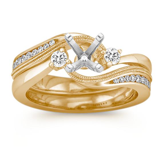 Three-Stone Diamond Swirl Wedding Set in 14k Yellow Gold