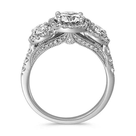Three-Stone Halo Engagement Ring with Pave Setting image