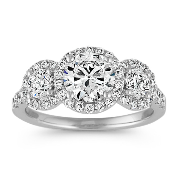 Three-Stone Halo Engagement Ring with Pave Setting