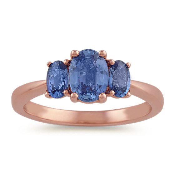Three-Stone Kentucky Blue Sapphire Ring in 14k Rose Gold