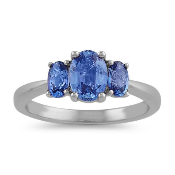 Three-Stone Kentucky Blue Sapphire Ring in 14k White Gold