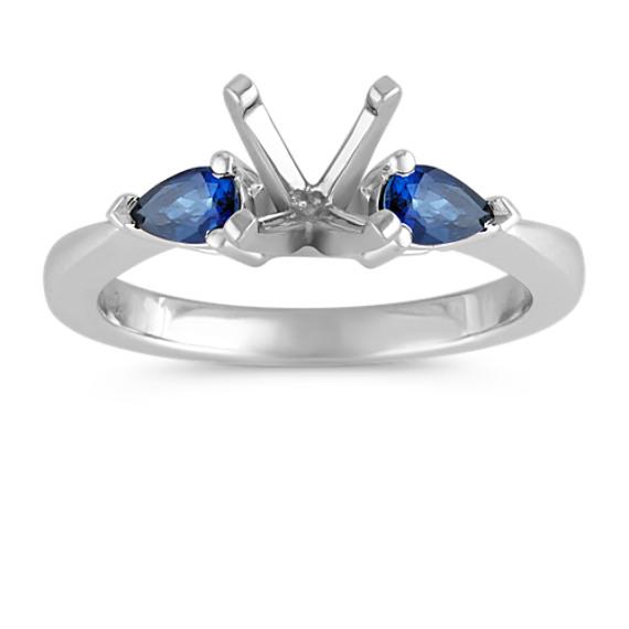 Three-Stone Pear-Shaped Sapphire Platinum Engagement Ring