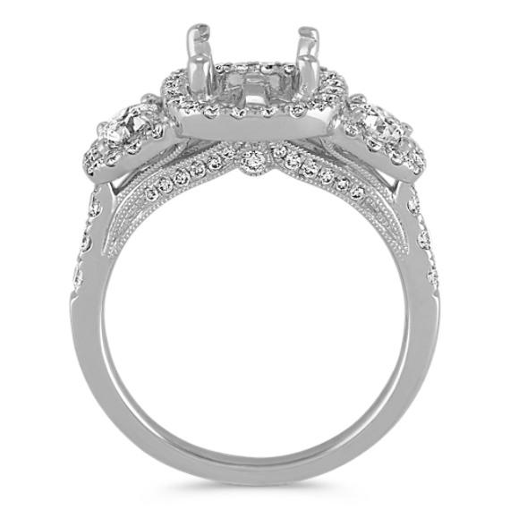 Three-Stone Diamond Halo Engagement Ring image