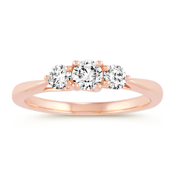 Three-Stone Round Diamond Ring in 14k Rose Gold