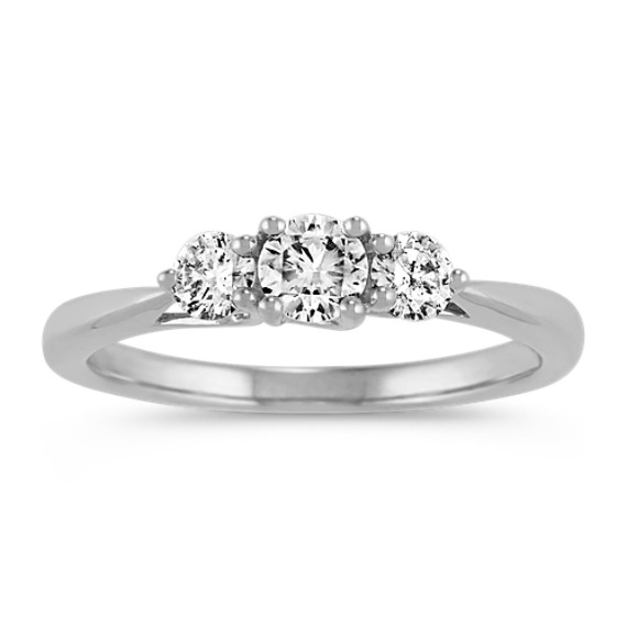 Three-Stone Round Diamond Ring in 14k White Gold