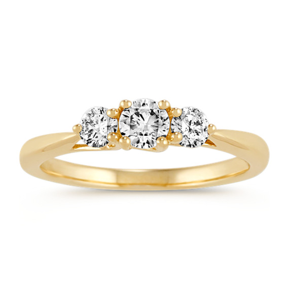 Three-Stone Round Diamond Ring in 14k Yellow Gold