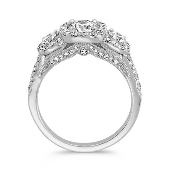 Three-Stone Round Diamond Ring with Pave-Setting in 14k White Gold image