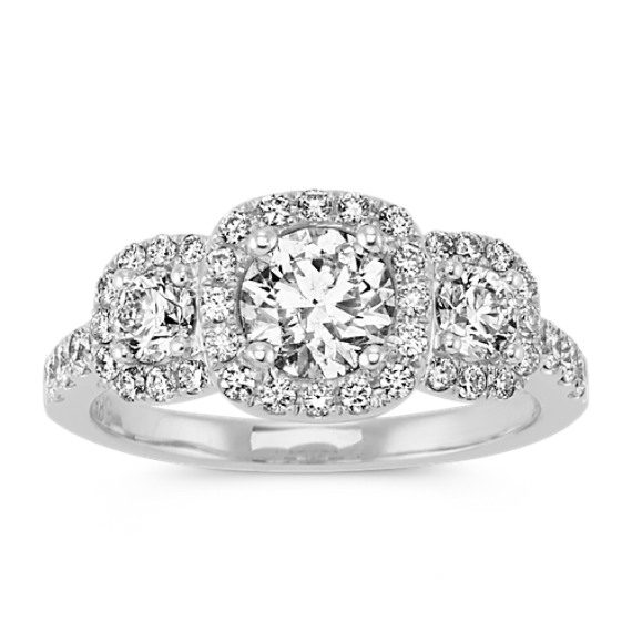 Three-Stone Round Diamond Ring with Pave-Setting in 14k White Gold