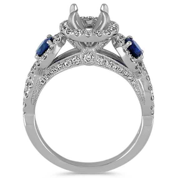 Three-Stone Sapphire and Diamond Halo Engagement Ring image